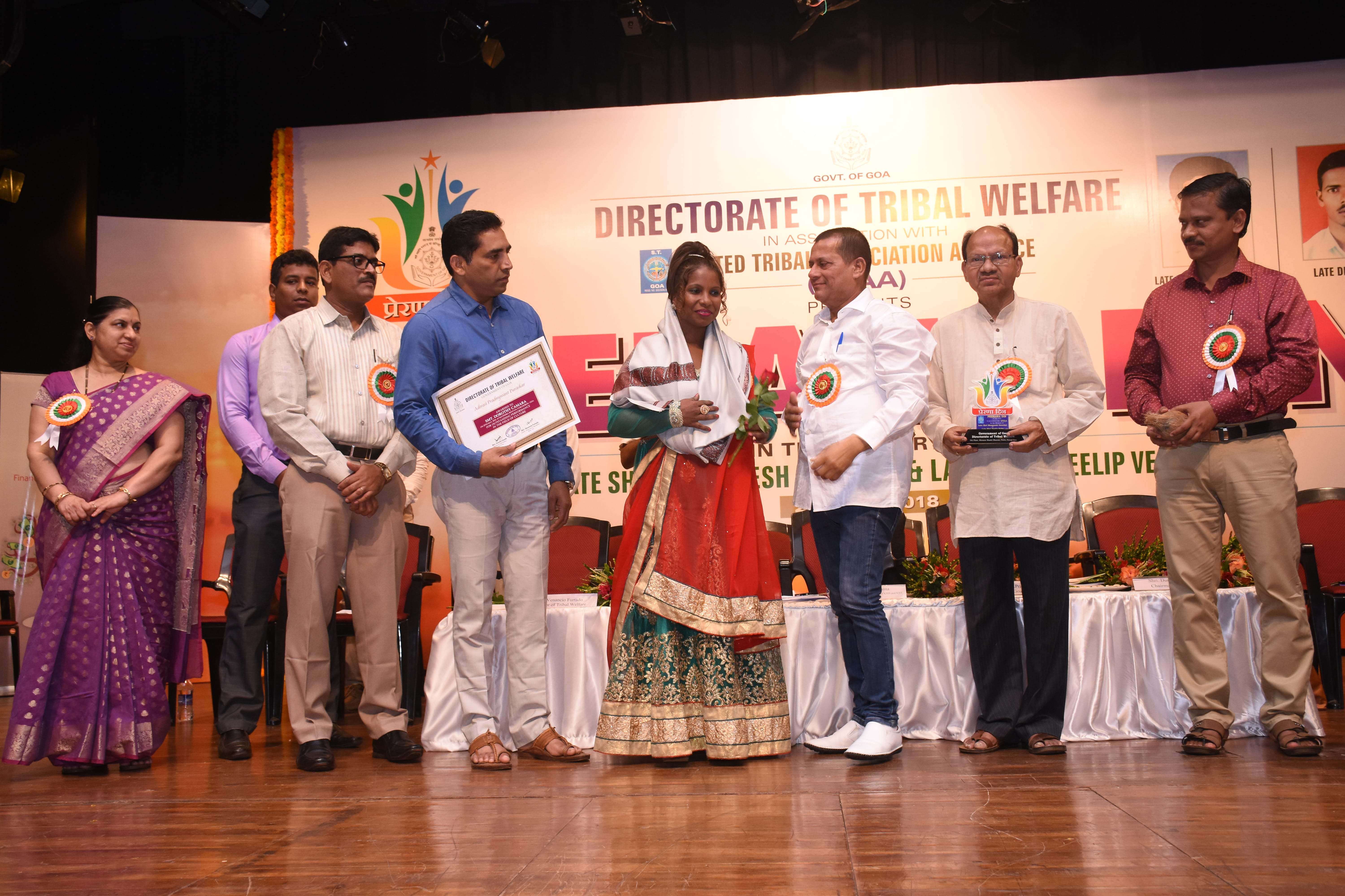 Adivasi radnyawant Puraskar awarded to Smt. Dorothy Camera in Cultural field.